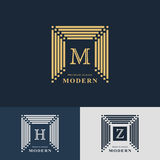 Modern logo design. Geometric linear monogram template. Letter emblem M, H, Z. Mark of distinction. Universal business sign  Royalty Free Stock Photography