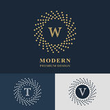 Modern logo design. Geometric linear monogram template. Letter emblem W, T, V. Mark of distinction. Universal business sign  Royalty Free Stock Photos