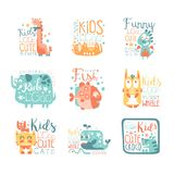 Modern logo design for kids with animals and fantasy characters Royalty Free Stock Photography