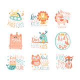 Modern logo design for kids with animals and fantasy characters. Alien, leo, unicorn, bear, deer, cat, bunny, owl, fox. Cartoon vector badges illustration in Royalty Free Stock Photos