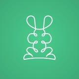 Modern logo i linjär design med kanin Arkivfoton