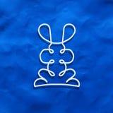 Modern logo i linjär design med kanin Arkivfoto