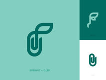 Modern logo mark template with sprout and paper clip Stock Image