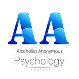 Modern logo of Psychology. Creative style. Logotype in vector. Design concept. Brand company. Blue color letter A on. White background. Symbol alcoholics Stock Photography