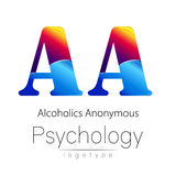 Modern logo of Psychology. Creative style. Logotype in vector. Design concept. Brand company. Blue and red color letter. A on white background. Symbol Royalty Free Stock Image