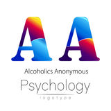 Modern logo of Psychology. Creative style. Logotype in vector. Design concept. Brand company. Blue and red color letter. A on white background. Symbol Stock Photography