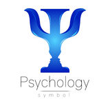 Modern logo of Psychology. Psi. Creative style. Logotype in vector. Design concept. Brand company. Blue color letter on Stock Photos