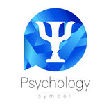Modern logo of Psychology. Psi. Creative style. Logotype in vector. Design concept. Brand company. Blue color letter on Royalty Free Stock Photo