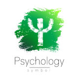 Modern logo of Psychology. Psi. Creative style. Logotype in vector. Design concept. Brand company. Green color letter on Stock Photo