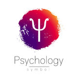 Modern logo of Psychology. Psi. Creative style. Logotype in vector. Design concept. Brand company. Pink color blot and Stock Images