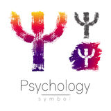 Modern logo of Psychology. Psi. Creative style. Logotype in vector. Design concept. Brand company. Pink color letter on Stock Images