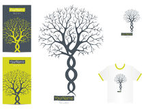 Modern logo tree. With visit card and tee-shirt example, vector Royalty Free Stock Photos