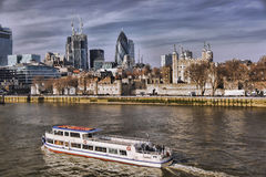 Modern London cityscape with boats, LONDON, UK Stock Image
