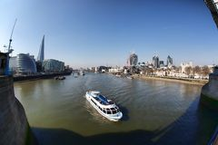 Modern London cityscape with boats, LONDON, UK Stock Photography
