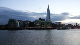 Modern London cityscape evening stock video footage
