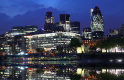 Modern London cityscape at night Royalty Free Stock Image