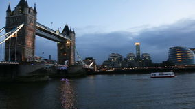 Modern London cityscape at night stock video footage