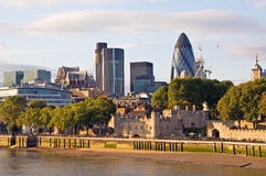 Modern London cityscape at sunset Stock Images