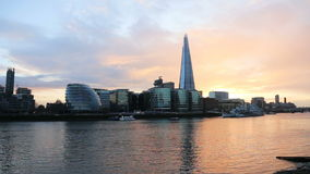 Modern London cityscape sunset stock video