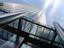 Modern London office building. Modern steel and glass office tower in Canary Wharf London stock photography