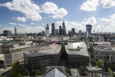 Modern London. A view of the financial district of London on a sunny day Stock Photos