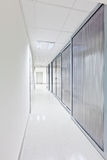 Modern long corridor with glass doors Royalty Free Stock Photo