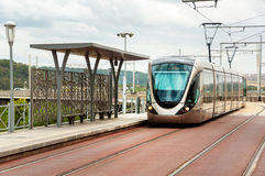 Modern looking tram in Rabat, Morocco Stock Photography