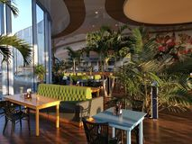 Modern lounge bar at Therme Bucharest. New furniture and palm stock images