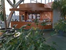 Modern lounge bar at Therme Bucharest. România - spa resort tropical vegetation stock images