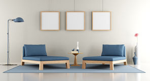 Modern lounge with blue daybed Royalty Free Stock Images