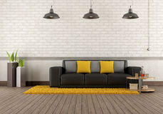 Modern lounge with brown sofa Stock Photo