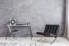 Modern lounge chair and music collection Stock Photo