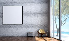 The modern lounge chairs interior design and white brick wall texture background. 3d rendering interior design concept idea of living room Stock Image
