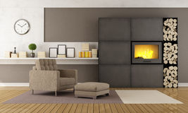 Modern lounge with fireplace. And armchair on carpet Royalty Free Stock Photos