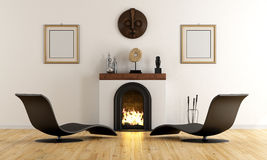 Modern lounge with fireplace Stock Photo