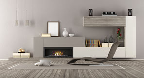 Modern Lounge with fireplace Stock Photos