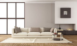 Modern lounge with fireplace. Minimalist lounge with fireplace and elegante sofa Stock Image