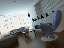 Modern lounge interior with blue armchair and cat vases Stock Images