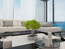 Modern lounge interior overlooking the sea Stock Photos