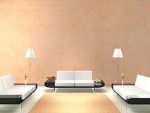 Modern lounge with salmon-colored wall. Rendering of a modern interior scene with space for wall decoration like picture frames Stock Photo