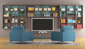 Modern lounge with tv Royalty Free Stock Images