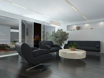 Modern lounge or waiting room interior. With comfortable armchairs and a sofa around a low table, a potted tree and recessed lighting Stock Images