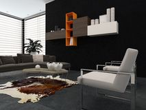 Modern lounge with wall-mounted cabinets Stock Image