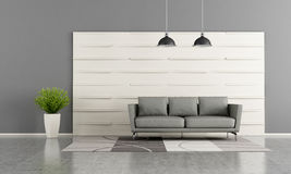 Modern lounge with white wooden panel Royalty Free Stock Photo