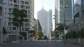 Modern low-energy building of Donau City condominium stock video