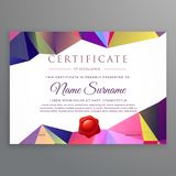Modern low poly funky certificate design template. Vector Stock Photography