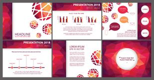 Bright fuchsia feminine polygonal powerpoint presentation template. Modern low poly geometric modern purple, fuchsia pink and orange color tones business Stock Illustration