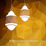 Modern low poly golden background with arabic lanterns,  Stock Image