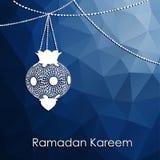 Modern low poly Ramadan background with arabic lanterns,  Stock Photo