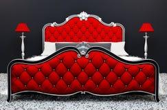 Modern luxueus bed met tribunelamp in binnenland royalty-vrije illustratie